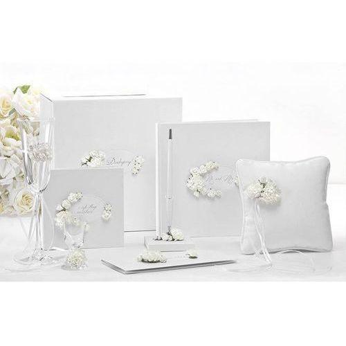 Pozostałe na ślub i wesele, Etui na pieniądze kremowe z błękitnymi kwiatkami - 1 szt.