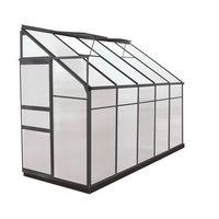 Szklarnie, Szklarnia ogrodowa z poliwęglanu dostawiana do budynku o pow. 3,7 m² CALICE II z podstawą - Antracytowa