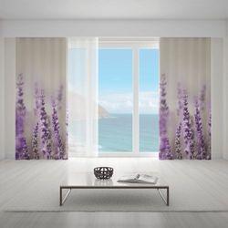 Zasłona okienna na wymiar - LAVANDE na przelotkach 140x235 cm