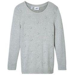 Sweter dzianinowy z pomonikami bonprix jasnoszary melanż
