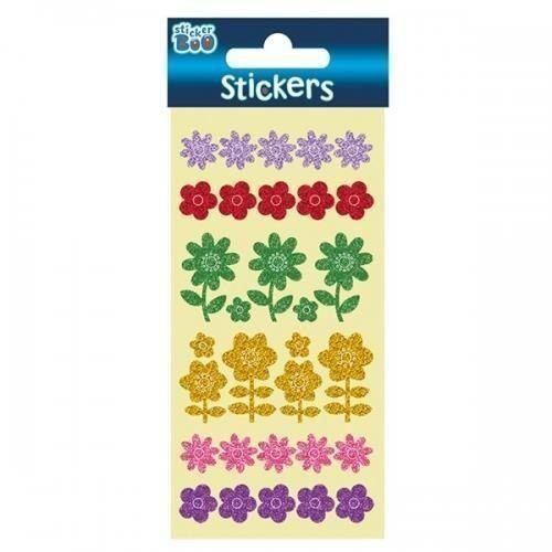 Naklejki, Naklejki Sticker BOO brokatowe kwiaty