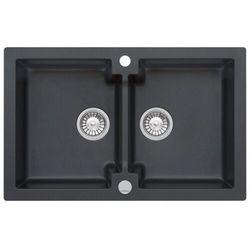 Zlewozmywak granitowy MOJITO 160 czarny metalik (60)