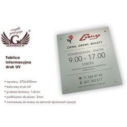 TABLICA INFORMACYJNA - LAMINAT GRAWERSKI gr. 4,6mm - wym. 275x250mm - DRUK UV - SZUV004