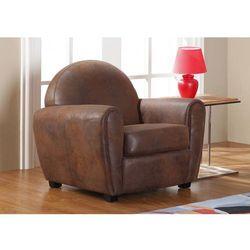 Fotel z mikrofibry imitującej postarzoną skórę w stylu klubowym VICTORY II