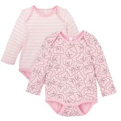 Body niemowlęce z długim rękawem (2 szt.), bawełna organiczna bonprix pudrowy róż -kremowy