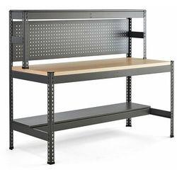 Stół warsztatowy COMBO, utwardzana płyta, panel narzędziowy i oświetlenie, 1840x775x1530 mm