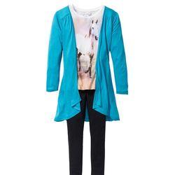 Shirt, kardigan + legginsy (3 części) bonprix ciemnoturkusowo-biel wełny - czarny