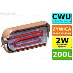ERMET 200l dwupłaszczowy z wężownicą poziomy bojler do CWU - podgrzewacz wymiennik bezobsługowy, na 2 źródła ciepła, solarny - WYSYŁKA GRATIS