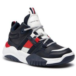Sneakersy TOMMY HILFIGER - Mid Cut Lace-Up Sneaker T3B4-30945-0815800 M Blue 800