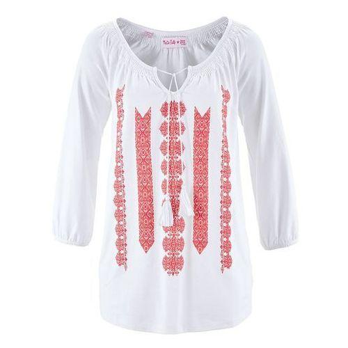 Tuniki, Tunika shirtowa z kolekcji Maite Kelly bonprix biało-koralowy z nadrukiem