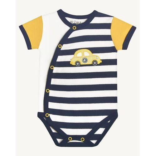 Body niemowlęce, Nini chłopięce body kopertowe 50 białe/niebieskie