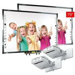 2 x Tablica interaktywna Qomo QWB379BW + 2 x Projektor Epson EB-670 + uchwyt ścienny