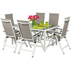 Meble ogrodowe aluminiowe VERONA VETRO Stół i 6 krzeseł - białe - hartowane szkło Meble VERONA VETRO (-6%)