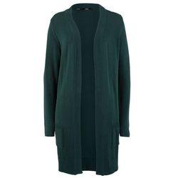 Sweter bez zapięcia bonprix szary melanż + czarny