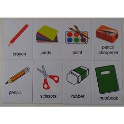 Przybory szkolne karty edukacyjne wersja w j. angielskim