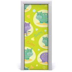 Naklejka samoprzylepna na drzwi ścianę Hipopotamy