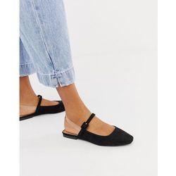 ASOS DESIGN Littleton clear strap square toe ballet flats in black - Black