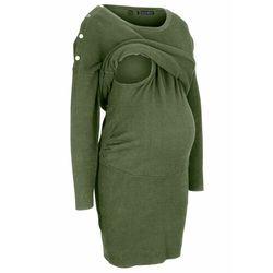 Sukienka dzianinowa ciążowa i do karmienia piersią bonprix ciemny khaki
