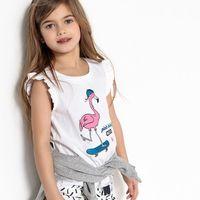 Bluzki dziecięce, Koszulka bez rękawów z nadrukowanym różowym flamingiem, 3-12 lat
