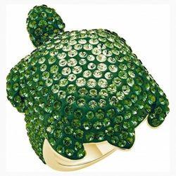 Pierścionek Mustique Sea Life Turtle, duży, zielony, powłoka w odcieniu złota