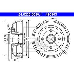 BĘBEN HAM ATE 24.0220-0039.1 OPEL CORSA C 1.2 05-, 1.3CDTI 05-, 1.4 03-, 1.7DTI 16V 00-
