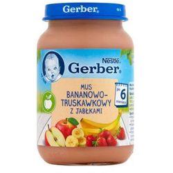 GERBER 190g Mus bananowo-truskawkowy z jabłuszkami Deserek w słoiczku 6m+