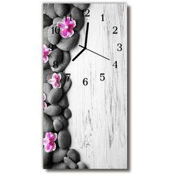 Zegar Szklany Pionowy Kwiaty Kamienie storczyki kolorowy
