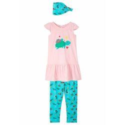 Sukienka dziewczęca + legginsy 3/4 + opaska na czoło (3 części) bonprix kremowy jasnoróżowy - morski