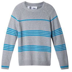 Sweter chłopięcy w paski bonprix jasnoszary melanż - turkusowy w paski