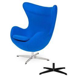 Fotel Jajo EGG CLASSIC - 3 kolory nóżek - wełna - Chabrowy niebieski