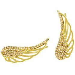 Nausznice złote skrzydła anioła
