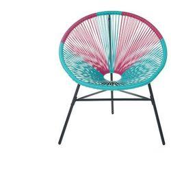 Zestaw 2 krzeseł rattanowych różowo-turkusowe ACAPULCO