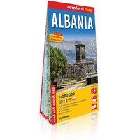 Mapy i atlasy turystyczne, Albania (Albania) laminowana mapa samochodowo-turystyczna 1:280 000 - Praca zbiorowa