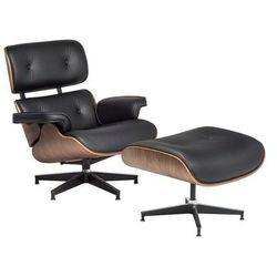 Fotel z Podnóżkiem Kopenhaga czarna skóra/jasny orzech
