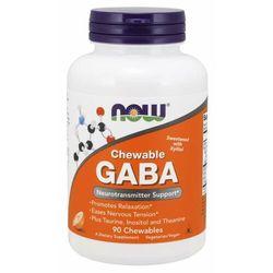 NOW Foods GABA tabletki do żucia o smaku pomarańczowym 90 tab