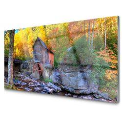 Panel Szklany Młyn Wodny Jesienny Las