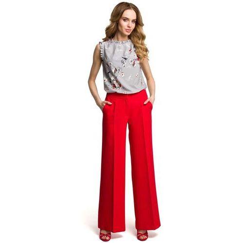 Spodnie damskie, Eleganckie Szerokie Czerwone Spodnie w Kant