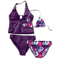 Bikini+tankini (4 części) bonprix ciemny lila z nadrukiem