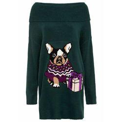 Sweter z golfem, w norweski wzór, długi rękaw bonprix biel wełny wzorzysty