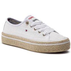 Espadryle TOMMY HILFIGER - Jute Detail Flatform Sneaker FW0FW04262 White 100