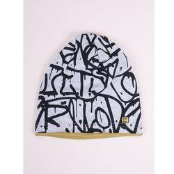 Czapka przejściowa bawełniana chłopięca szara w graffiti 54-56