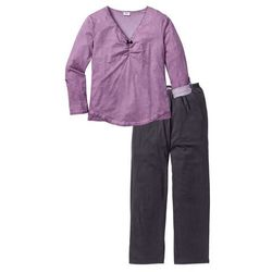 Piżama bonprix różowo-szary