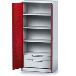 Szafa warsztatowa MECHANIC, 1950 x 920 x 500 mm, 3 półki, 2 szuflady, czerwone drzwi