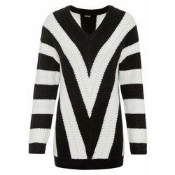 Sweter oversize w paski bonprix czarno-biel wełny w paski