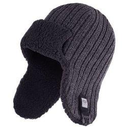 Zimowa czapka, uszatka męska - Ciemnoszara mulina - Ciemnoszara mulina