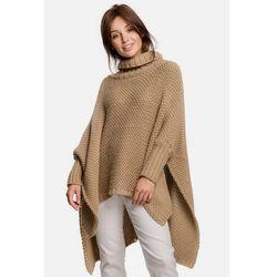 BK049 Sweter ponczo z rękawami i golfem - kamelowy
