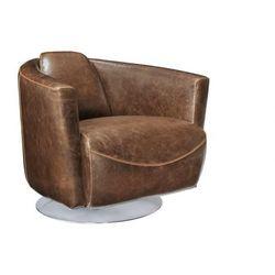Fotel klubowy z postarzanej skóry FLORENTIN