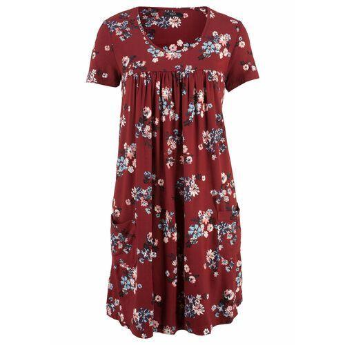 Suknie i sukienki, Sukienka z dżerseju, krótki rękaw bonprix czerwony kasztanowy w kwiaty
