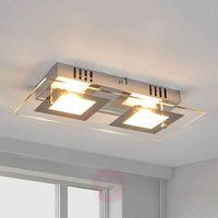 Lampy sufitowe, Manja – dwupunktowa, chromowa lampa sufitowa LED
