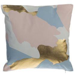 Poduszka dekoracyjna w łaty bawełniana różowa/złota 45 x 45 cm